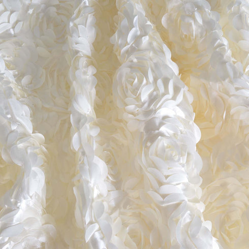 "54"" x 4 Yards Ivory 3D Rosette Satin Fabric Bolt"