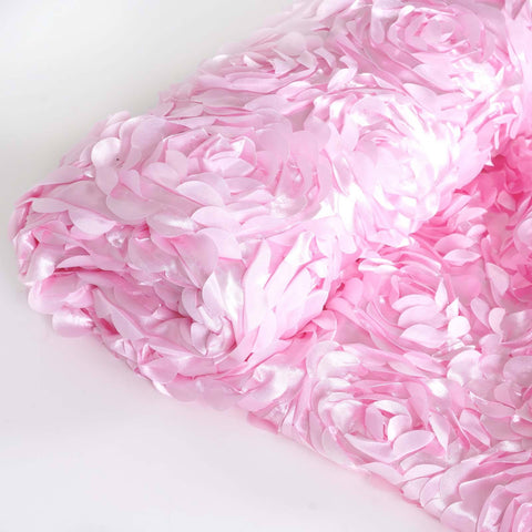 "PINK Wholesale Flower Rosette 3D Satin Fabric Bolt By Yard Wedding Event Party Decoration - 54""x4 Yards( Sold Out )"
