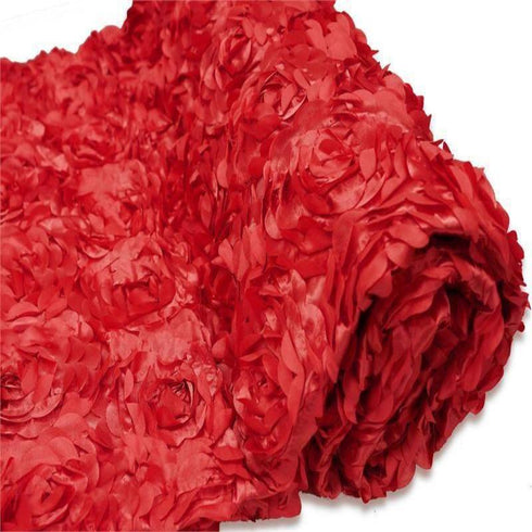 "54"" x 4 Yards Red 3D Rosette Satin Fabric Bolt"