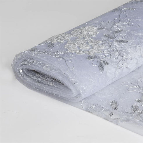 "54"" x 4 Yards Silver/White Iridescent Sequin Embroidered Tulle Fabric by the Yard"