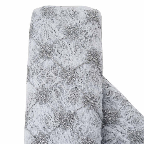 "Flora Y Sol Lace Fabric Bolt 54"" x 4 yards - Silver/White"