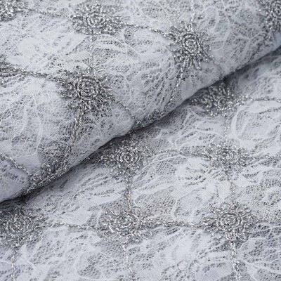 "54"" x 4 Yards Silver/White Flora Y Sol Lace Fabric Bolt"