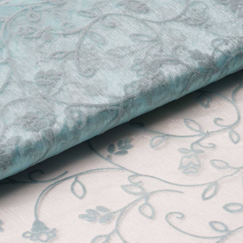 "Velvet Embroidery On Organza Wedding Dress Fabric Bolt By Yard - Blue - 54"" x 10Yards"