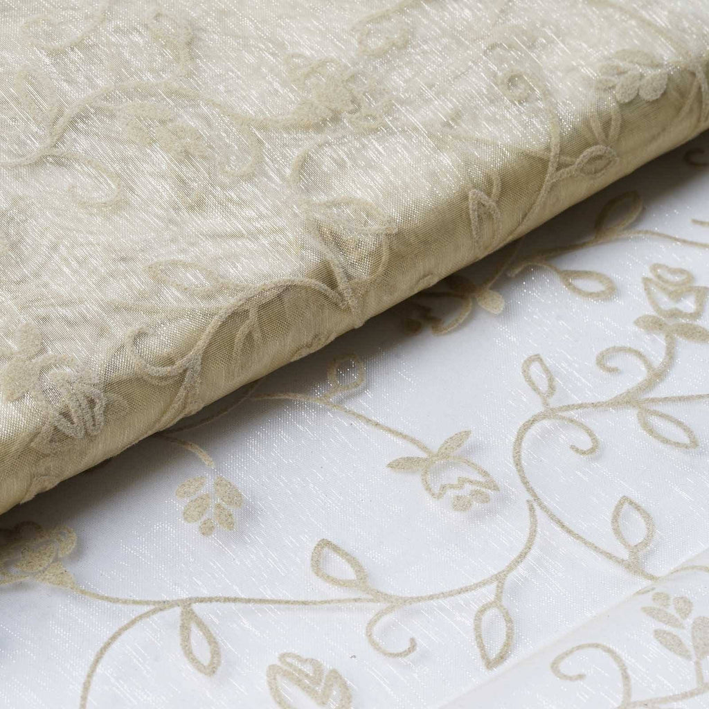 "Velvet Embroidery On Organza Wedding Dress Fabric Bolt By Yard - Champagne - 54"" x 10Yards"