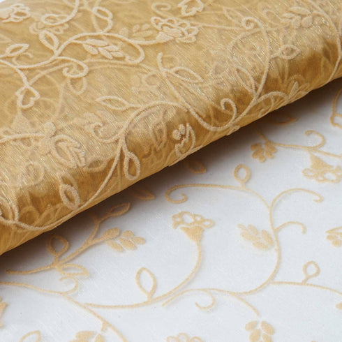 "Velvet Embroidery On Organza Wedding Dress Fabric Bolt By Yard - Gold - 54"" x 10Yards"