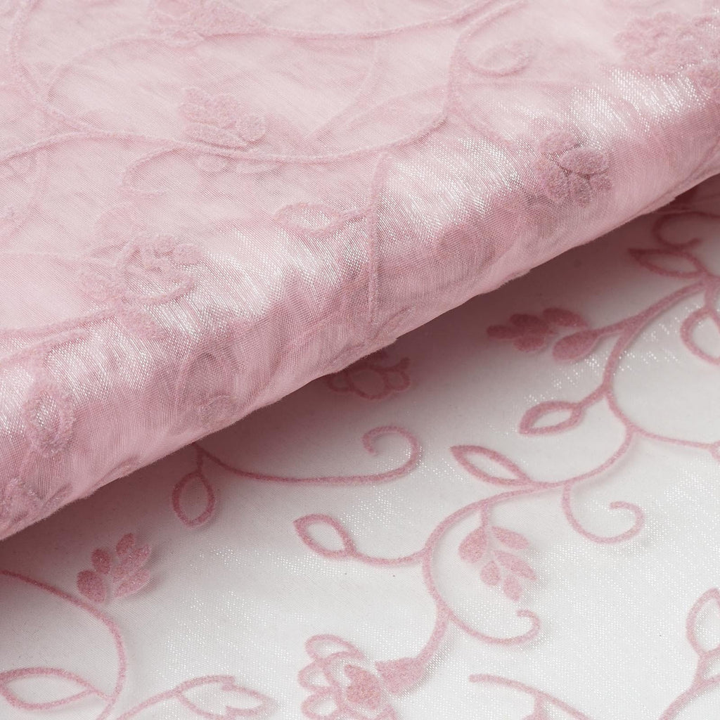 "Velvet Embroidery On Organza Wedding Dress Fabric Bolt By Yard - Pink - 54"" x 10Yards"