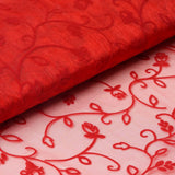 "Velvet Embroidery On Organza Wedding Dress Fabric Bolt By Yard - Red - 54"" x 10Yards"