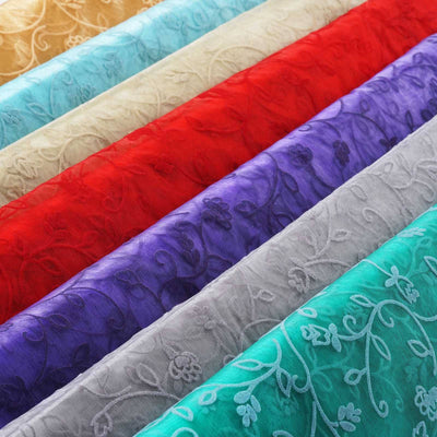 "Velvet Embroidery On Organza Wedding Dress Fabric Bolt By Yard - Turquoise - 54"" x 10Yards"