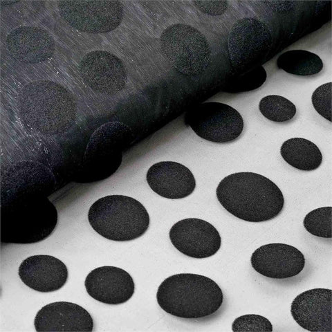 "Groovy Velvet Dots on Organza Fabric Dress Bolt By Yard - Black - 54""x10 Yards"
