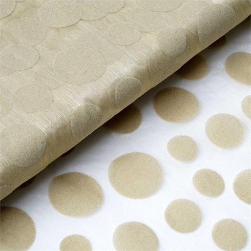 "Groovy Velvet Dots on Organza Fabric Dress Bolt By Yard - Champagne - 54""x10 Yards"