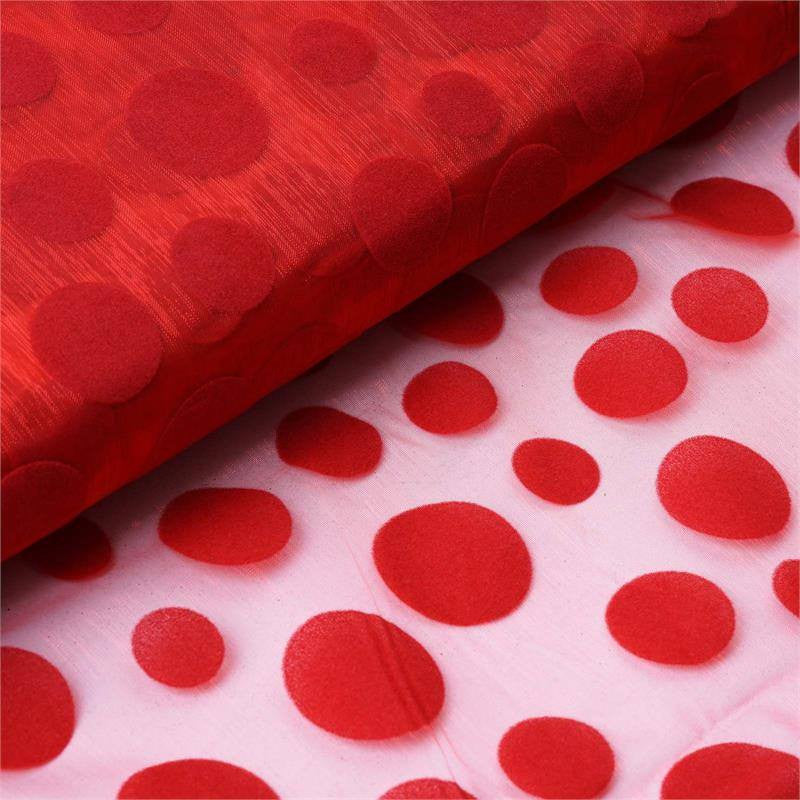 "Groovy Velvet Dots on Organza Fabric Dress Bolt By Yard - Red - 54""x10 Yards"