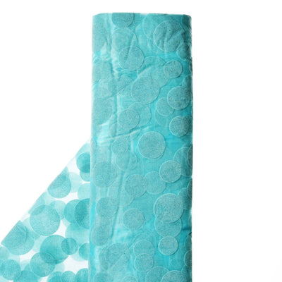 "Groovy Velvet Dots on Organza Fabric Dress Bolt By Yard - Turquoise - 54""x10 Yards"