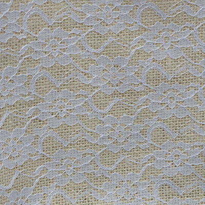 "Gracefully Floral Lace Stitched Burlap Fabric Bolt 54"" x 4yds - Natural"