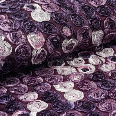 "54""x4 Yards Eggplant Mini Rosette Multi Color Fabric Bolt"