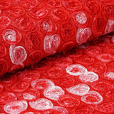 "Ballroom Mini-Rosettes Fabric Bolt Red / Rose Quartz / Cream 54"" x 4 yards"