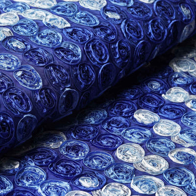 "54""x4 Yards Royal Blue Mini Rosette Multi Color Fabric Bolt"