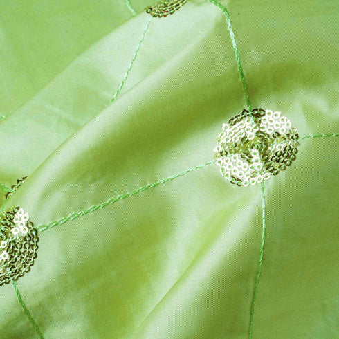 "54"" x 5 Yards Apple Green Sequin Taffeta Fabric By The Bolt"