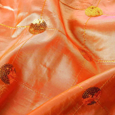 "Taffeta Sequin Fabric Bolt 54"" x 5yards Orange"