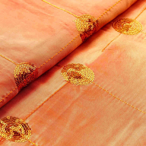 "54""x5 Yards Orange Sequin Taffeta Fabric By The Bolt"