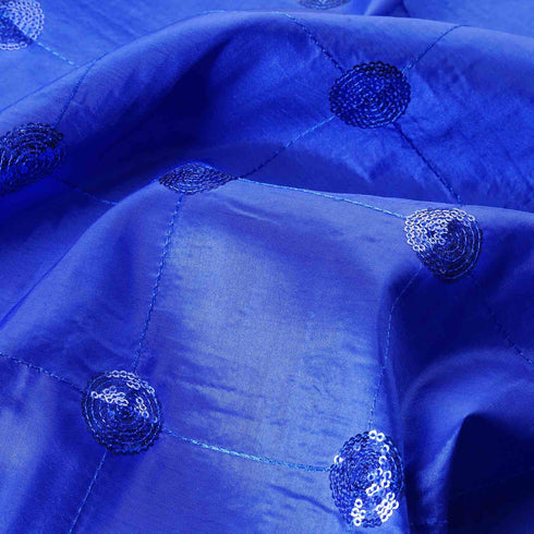"54""x5 Yards Royal Blue Sequin Taffeta Fabric By The Bolt"