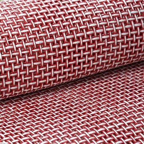 "54"" x 4 Yards Red/White Eco-Friendly Woven Upholstery Raffia Fabric By the Yard"