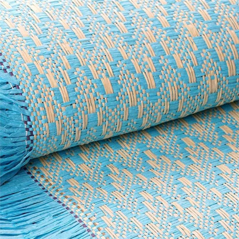 "54"" x 4 Yards Turquoise Eco-Friendly Woven Upholstery Raffia Fabric By the Bolt"