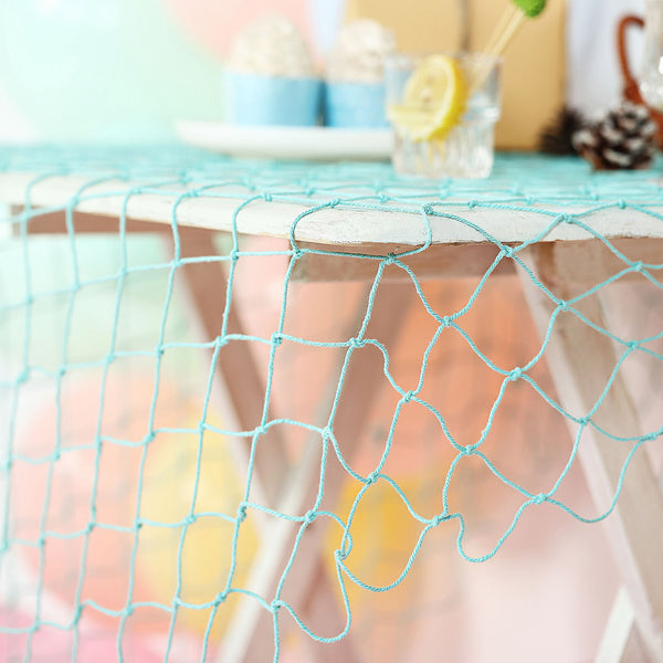 5Ft x 5Ft Turquoise Cotton Decorative Fish Net, Rustic Beach Decor