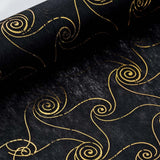 "Glossy Party Event Craft Non-Woven Metallic Design Fabric Bolt By Yard - Gold/Black - 19""x10Yards"