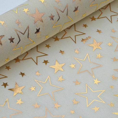 "19"" x 10 Yards Gold/Ivory Star Design Non Woven Polyester Fabric Bolt"
