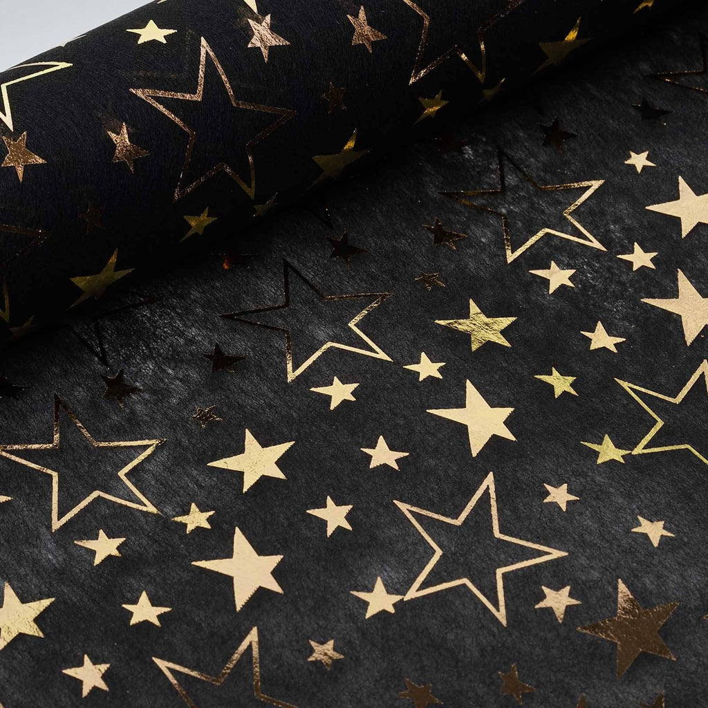 "Glossy Party Event Craft Non-Woven Star Design Fabric Bolt By Yard - Gold/Black- 19""x10Yards"