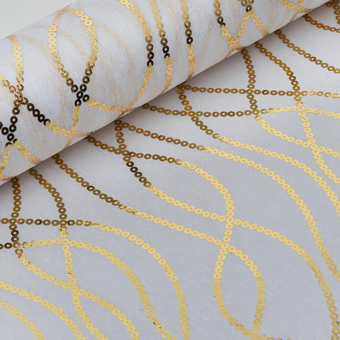 "Glossy Party Event Craft Non-Woven Chain Design Fabric Bolt By Yard - Gold/White- 19""x10Yards"