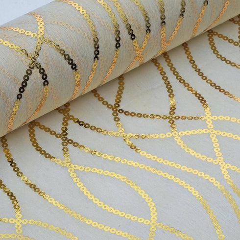 "Glossy Party Event Craft Non-Woven Chain Design Fabric Bolt By Yard - Gold/Ivory- 19""x10Yards"