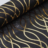 "Glossy Party Event Craft Non-Woven Chain Design Fabric Bolt By Yard - Gold/Black- 19""x10Yards"
