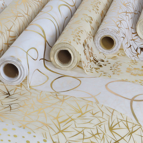 "Glossy Party Event Craft Non-Woven Leaf Design Fabric Bolt By Yard - Gold/White - 19""x10Yards"
