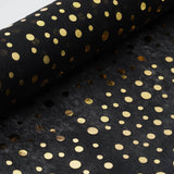 "Glossy Party Event Craft Non-Woven Polka Dot Design Fabric Bolt By Yard - Gold/Black - 19""x10Yards"