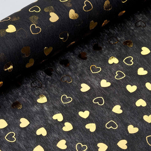 "19"" x 10 Yards Gold/Black Heart Design Non Woven Polyester Fabric Bolt"