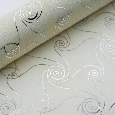 "Glossy Party Event Craft Non-Woven Delicate Art Design Fabric Bolt By Yard -Silver/Ivory- 19""x10Yards"