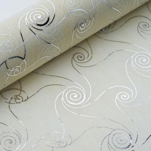"19"" x 10 Yards Silver/Ivory Delicate Art Design Non Woven Polyester Fabric Bolt"