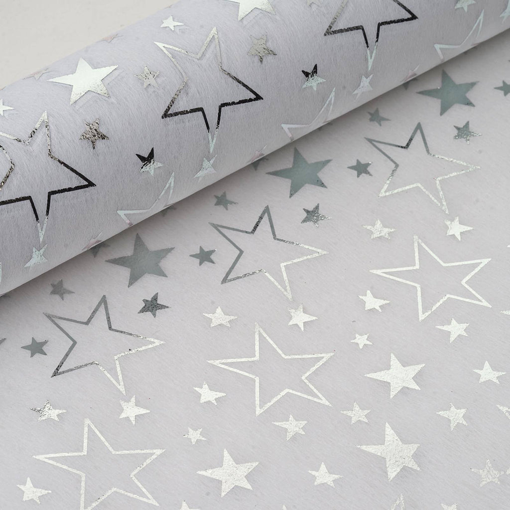 "Glossy Party Event Craft Non-Woven Star Design Fabric Bolt By Yard -White/Silver- 19""x10Yards"