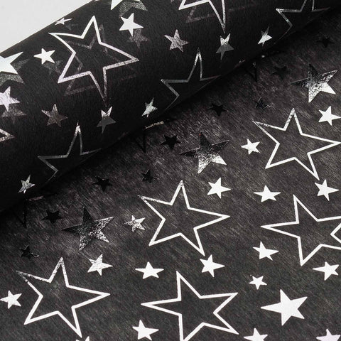 "Glossy Party Event Craft Non-Woven Star Design Fabric Bolt By Yard -Black/Silver- 19""x10Yards"