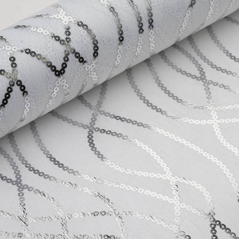 "19"" x 10 Yards Silver/White Friendship Chain Design Non Woven Spunbond Polyester"