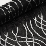 "Glossy Party Event Craft Non-Woven Friendship Chain Design Fabric Bolt By Yard -Silver/Black- 19""x10Yards"