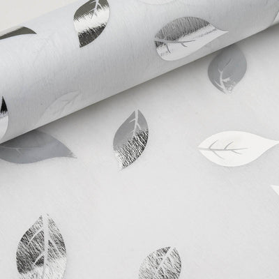 "19"" x 10 Yards Silver/White Leaf Design Non Woven Spunbond Polyester"