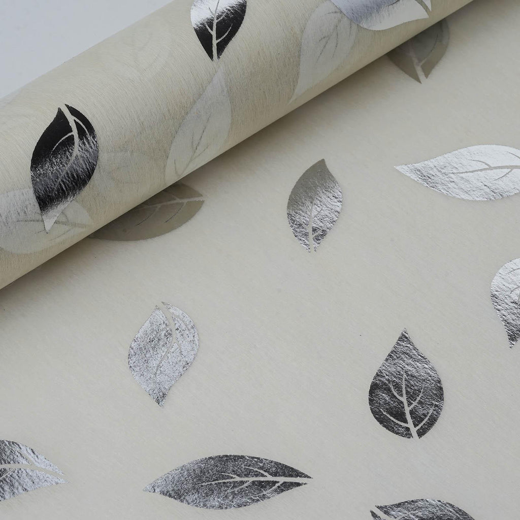 "Glossy Party Event Craft Non-Woven Leaf Design Fabric Bolt By Yard -Silver/Ivory- 19""x10Yards"