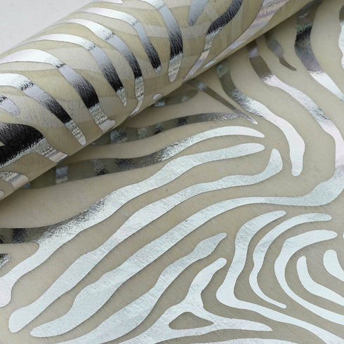 "Glossy Party Event Craft Non-Woven Tiger Print Design Fabric Bolt By Yard -Silver/Ivory- 19""x10Yards"