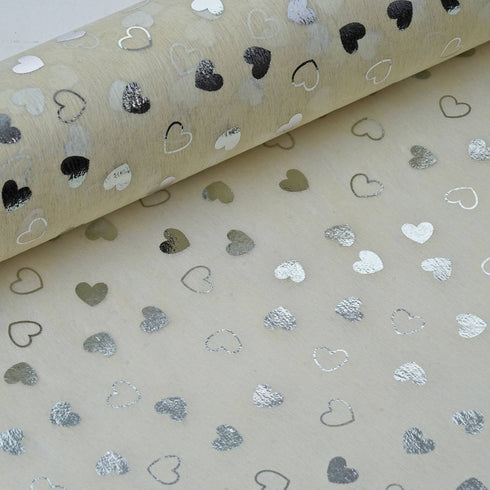 "19"" x 10 Yards Ivory/Silver Heart Shower Design Non Woven Spunbond Polyester"