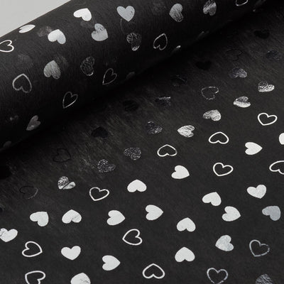 "Glossy Party Event Craft Non-Woven Heart Shower Design Fabric Bolt By Yard -Black/Silver- 19""x10Yards"