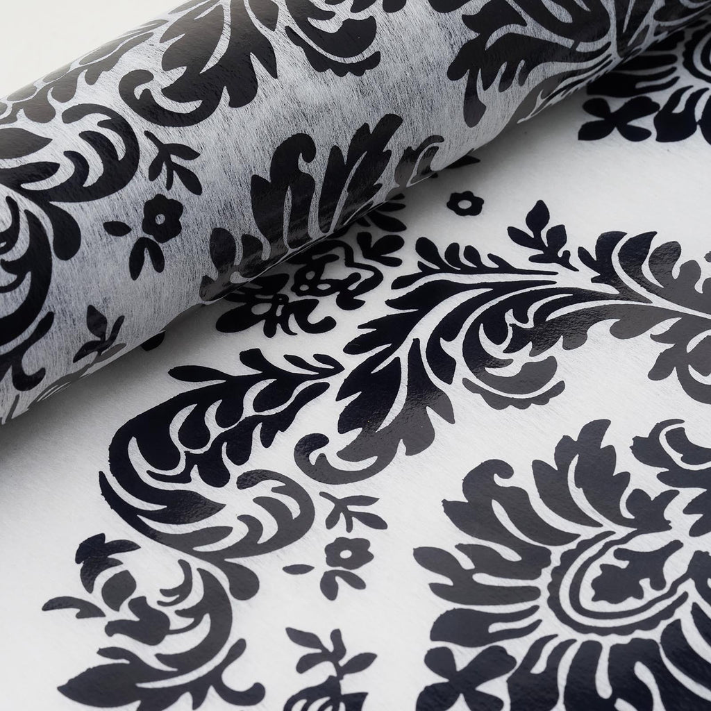 "Glossy Party Event Craft Non-Woven Damsak Flocking Design Fabric Bolt By Yard -White/Black- 19""x10Yards"