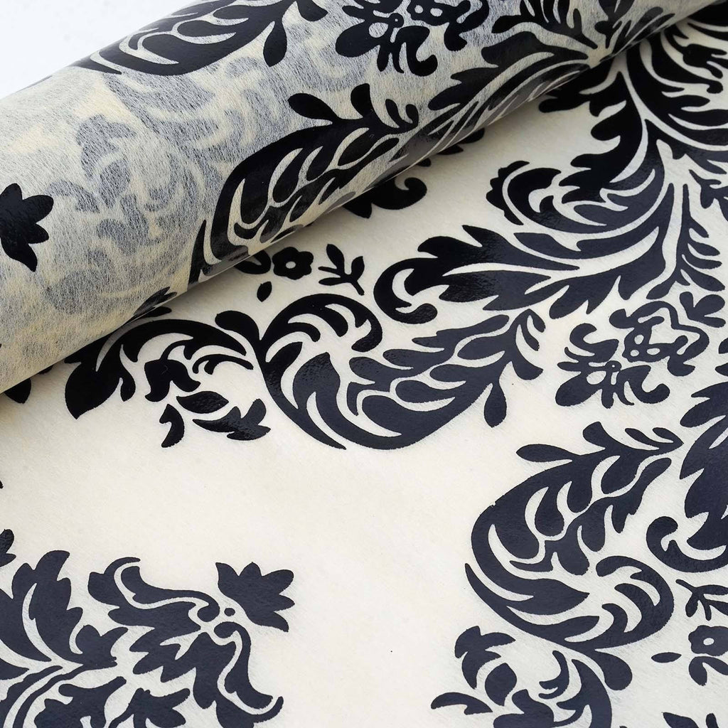 "Glossy Party Event Craft Non-Woven Damsak Flocking Design Fabric Bolt By Yard -Ivory/Black- 19""x10Yards"