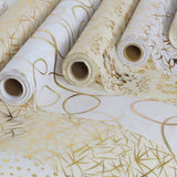 "Glossy Party Event Craft Non-Woven Flower Design Fabric Bolt By Yard -Gold/White- 19""x10Yards"